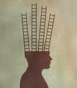 Ladders from top of man's head