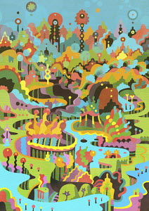 Vibrant fantasy landscape