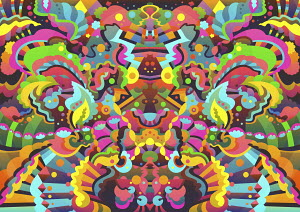 Vibrant abstract symmetrical pattern