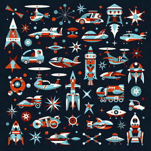 Lots of retro style futuristic vehicles
