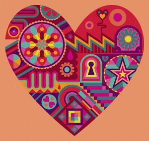 Vibrant pattern forming heart shape