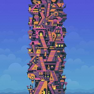 Futuristic fantasy highrise building
