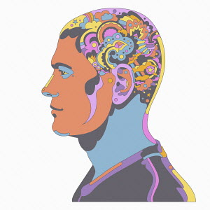 Man with head full of complex abstract pattern