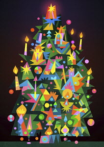 Brightly coloured candle lit Christmas tree