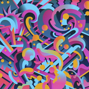 Vibrant abstract blobs and swirls pattern