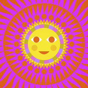 Full frame neon coloured sun with smiling face