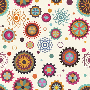 Cogs and wheels in seamless pattern