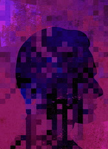 Pixellated man's profile