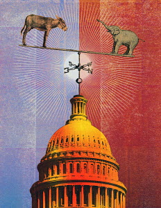 Elephant and donkey balanced on top of Capitol Building dome