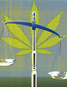 Marijuana and scales of justice