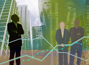 Stock market and city business collage