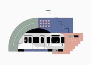Underground train in abstract pattern