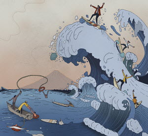 The ups and downs of business in parody of Hokusai's wave