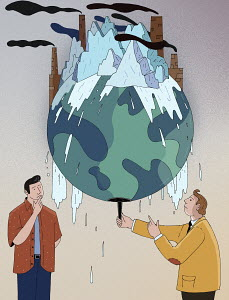 Men watching glaciers melt on global warming globe