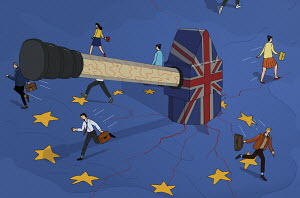 UK hammer breaking up the European Union flag