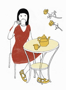 Woman drinking tea outdoors