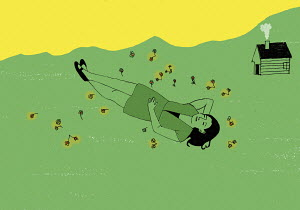 Woman lying down in meadow
