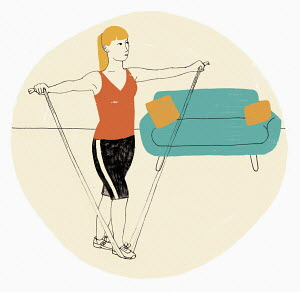 Woman exercising using resistance band
