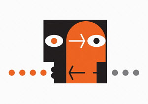 Abstract graphic of two heads communicating