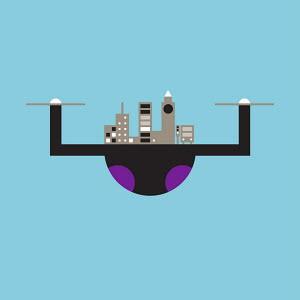 Cityscape on camera drone