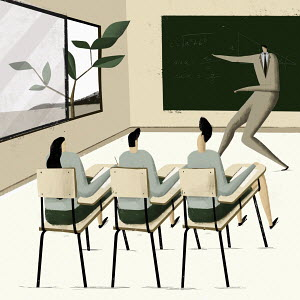 Pupil distracted by tree through window in maths class
