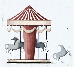 Horse escaping from carousel
