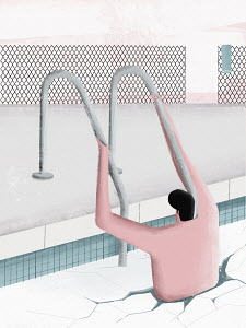 Man getting into frozen swimming pool