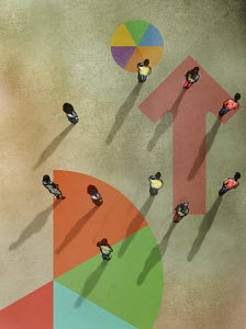 Overhead view of people standing on pie charts and arrow