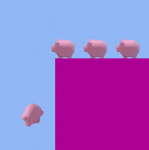 Piggy banks queuing up to fall off cliff