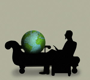 Globe on psychiatrist's couch