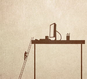 Man climbing ladder to reach desktop
