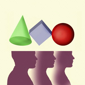 Three heads with different geometric shapes