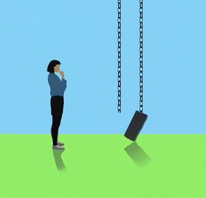 Woman looking at broken swing