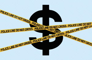Dollar symbol behind police cordon tape