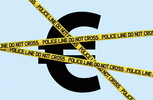 Euro symbol behind police cordon tape