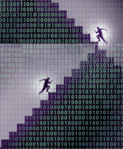 Men running up binary code staircase