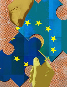 Hands fitting European Union jigsaw puzzle pieces together