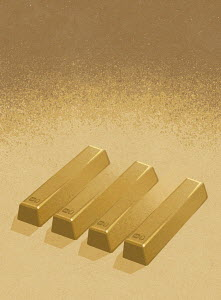 Row of gold ingots as optical illusion