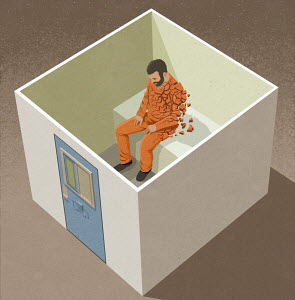 Man falling to pieces in solitary confinement