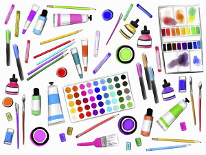 Collection of art materials