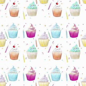 Cupcake and birthday candle pattern