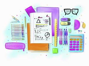 Schoolgirl's stationery supplies