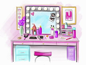 Pink dressing table