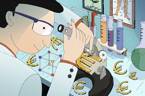 Scientist examining euro sign under microscope