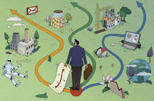 Businessman with choice of paths through business landscape