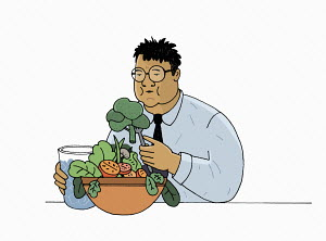 Overweight man eating large bowl of vegetables