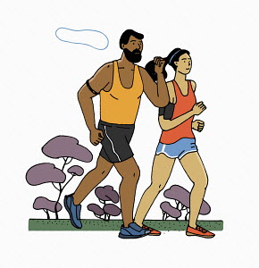 Man and woman jogging together with fitness trackers