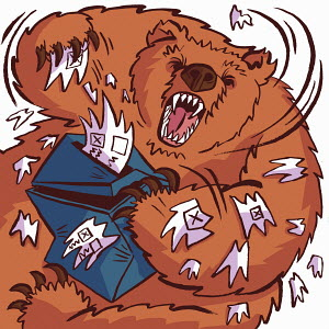 Fierce Russian bear tearing up ballot box