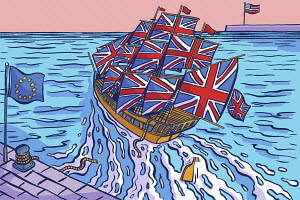 United Kingdom ship leaving European Union and heading for United States