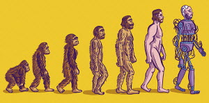 Evolution of man from ape to cyborg